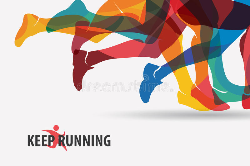 Running people set of silhouettes. Sport and activity background royalty free illustration