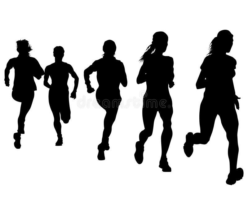 Running people seven. People athletes on running race on white background stock illustration