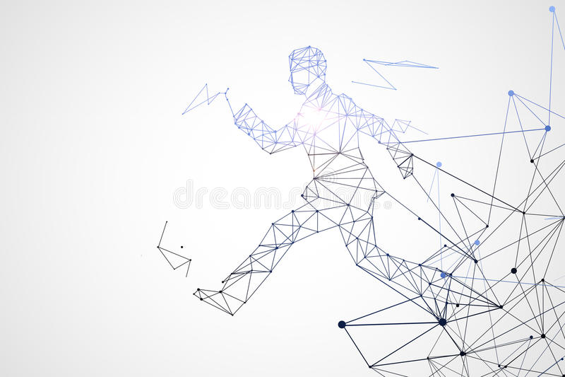 Running polygonal man. Abstract running polygonal man on white background. 3D Rendering stock illustration