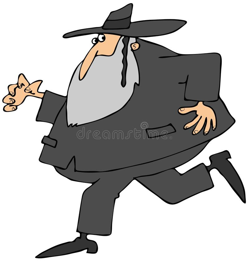 Running Rabbi. This illustration depicts a Jewish Rabbi running vector illustration