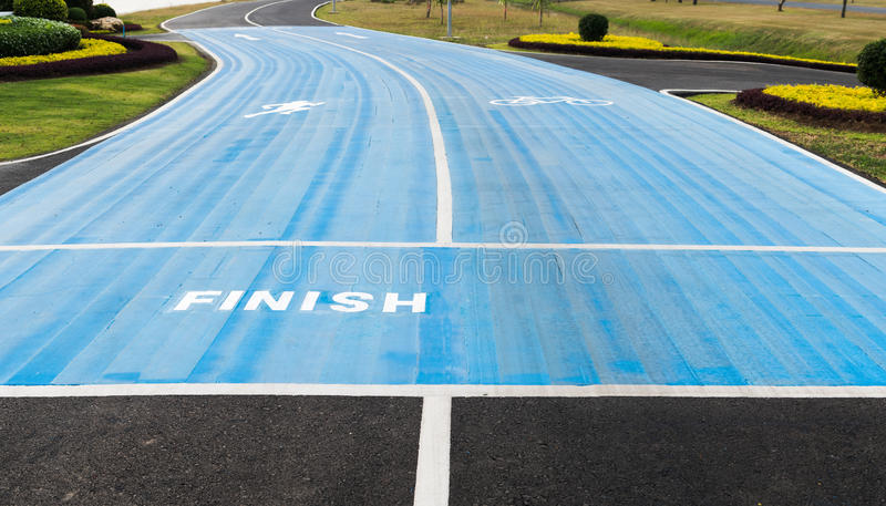 Running race track finish point. Concept of way to successful future stock images