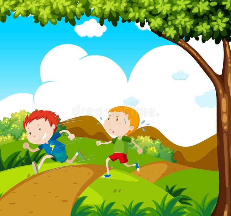 Running Race up to Hill. Illustration vector illustration