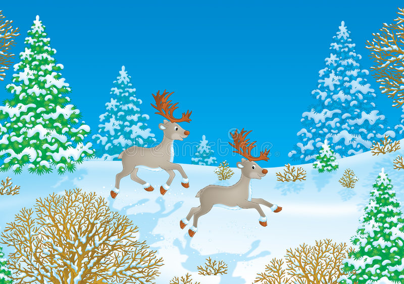 Running reindeers. High resolution image (created in Photo Shop) for your design and wallpaper royalty free illustration