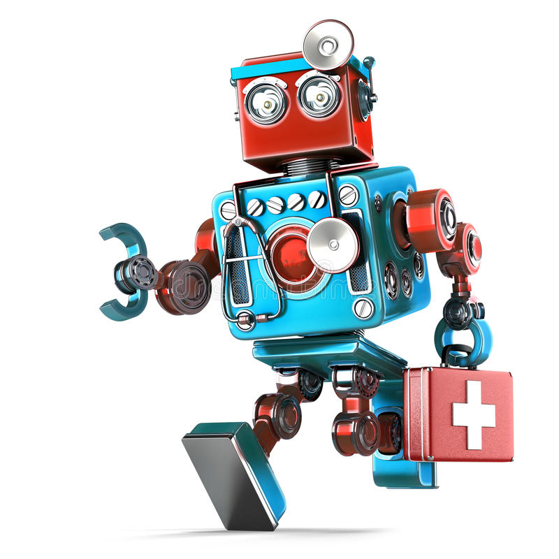 Running Robot Doctor with stethoscope. . Contains clipping path. Running Robot Doctor with stethoscope. over white. Contains clipping path stock illustration