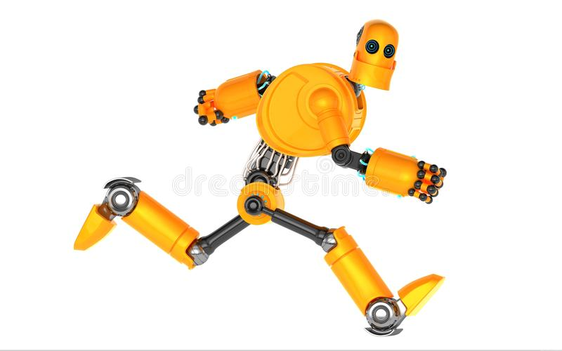Running Robot. Isolated on white stock illustration