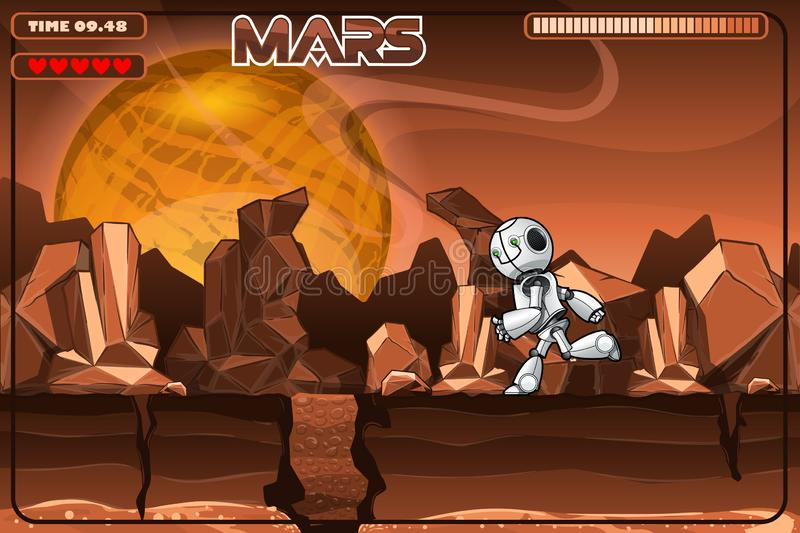 Running robot on Mars. Excerpt from the game. EPS 10. Vector file stock illustration