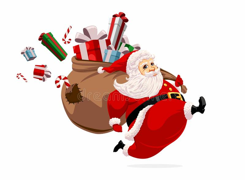 Running Santa Claus. Carrying huge bag full of gifts and candys royalty free illustration