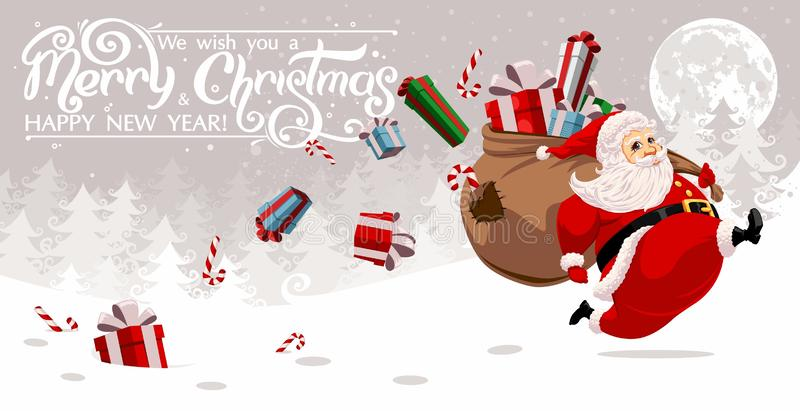 Running Santa Claus. Carrying sack full of gifts and candys stock illustration