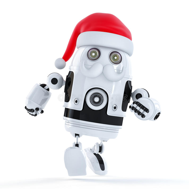 Running Santa robot. Technology concept vector illustration