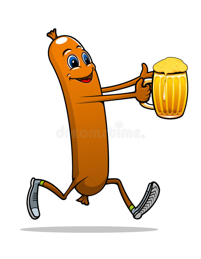 Running sausage with beer vector illustration