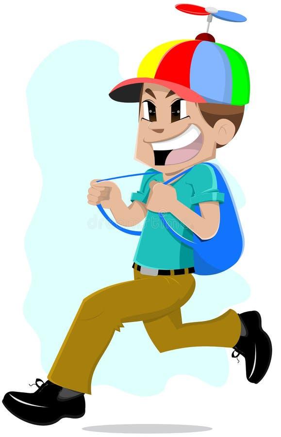 Download Running school boy stock vector. Image of activity, moving - 19416522