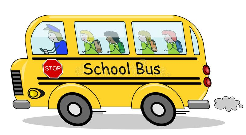 Download Running School Bus Children Stock Vector - Illustration of driver, cartoon: 20192923