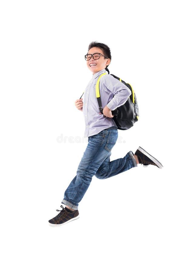 running schoolboy royaltyfria foton