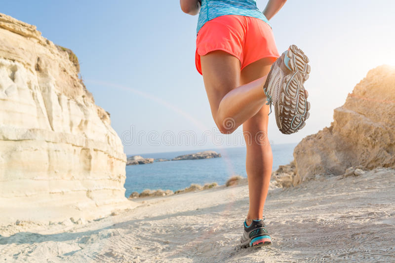 Running on seaside path. stock images