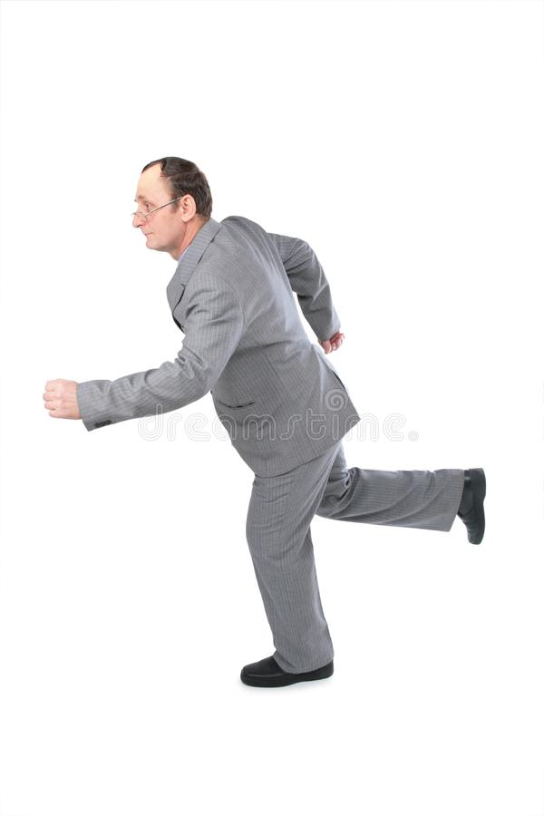 Running senior business man 2 royalty free stock images