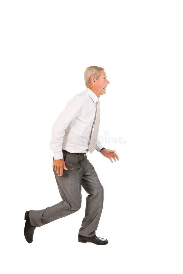 Running Senior Business Man Stock Photo