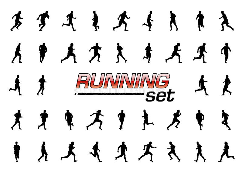 Download Running set stock vector. Image of exercise, black, illustration - 19366389