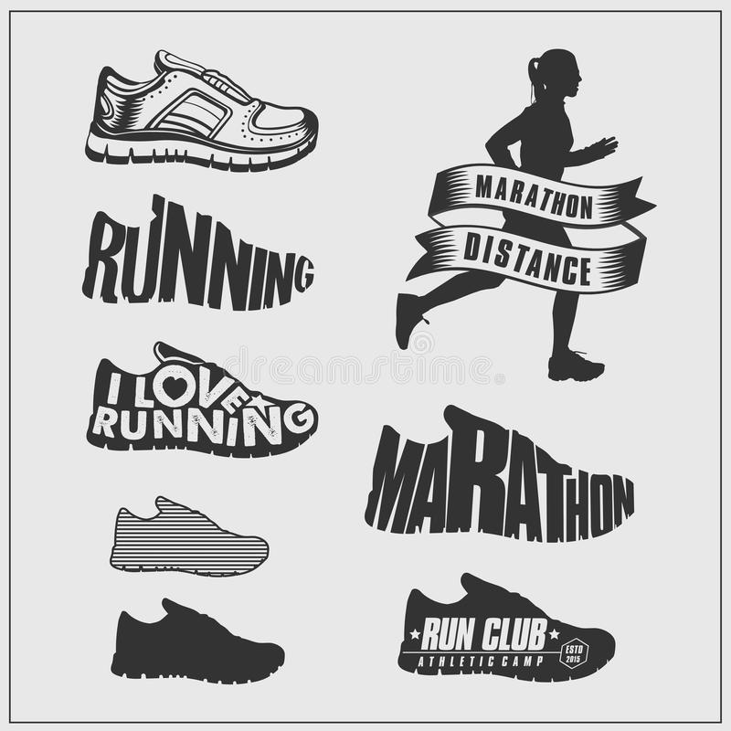 Running set. Silhouettes of running women, shoes, logos and labels. stock illustration