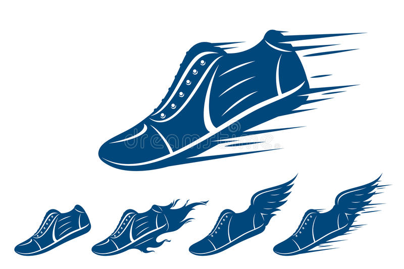 Running shoe icons, sports shoe with motion and fire trails isolated on white. Running shoe icons, sneaker or sports shoe with speed, motion and fire trails royalty free illustration