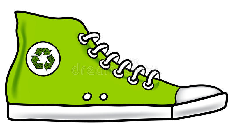 Running shoe recycle vector illustration