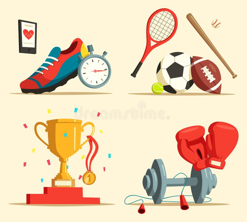 Running shoes and baseball bat, soccer, rugby ball. Jogging or running shoes, trophy or cup with medal and confetti, boxing gloves and dumbbell, skipping rope vector illustration