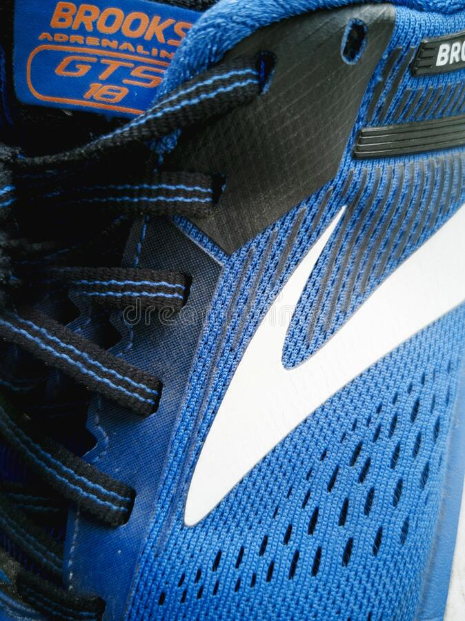 Running shoes brand brooks model gts adrenaline in blue colo royalty free stock photos