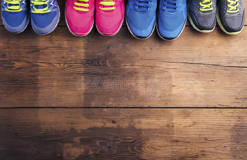 Running shoes on the floor royalty free stock photos