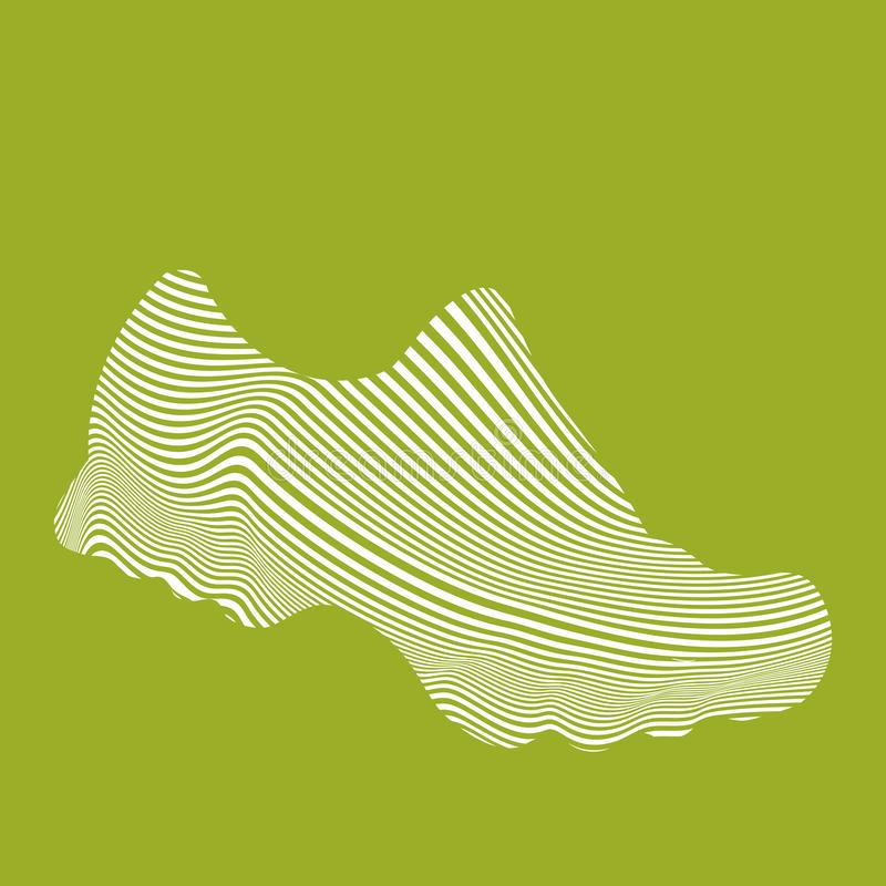 Running shoes. Isolated linear vector icon on a green background. stock images