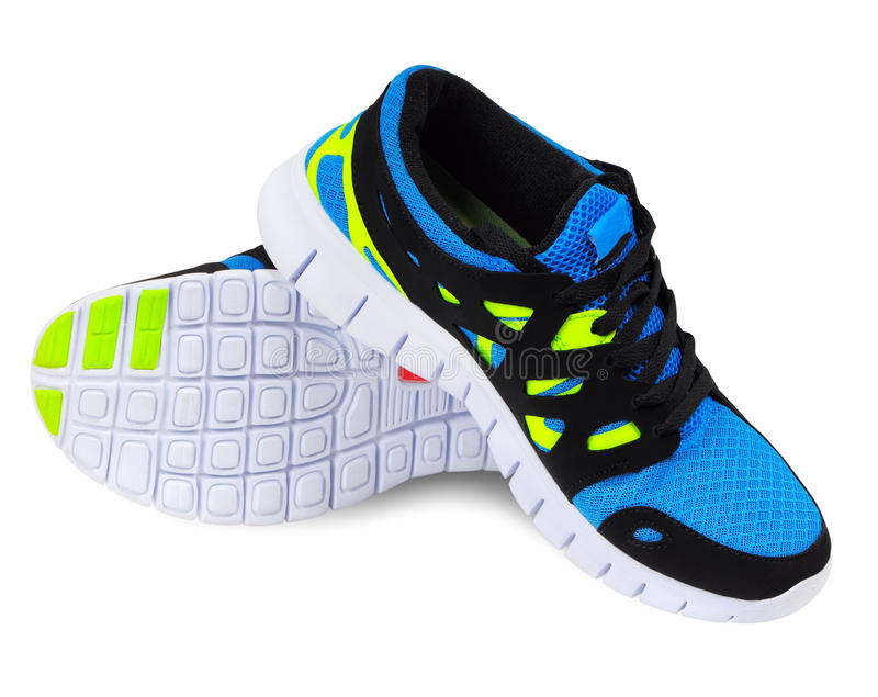 Running shoes. Lightweight running shoes for athletics on a white background royalty free stock image