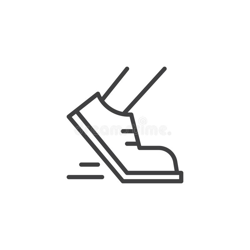 Running shoes outline icon. Linear style sign for mobile concept and web design. Jogging simple line vector icon. Symbol, logo illustration. Pixel perfect royalty free illustration