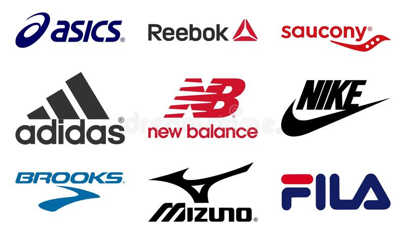 Running shoes producers logos. Vector set collection of the 9 most important running shoes producers logos. Editable EPS file available