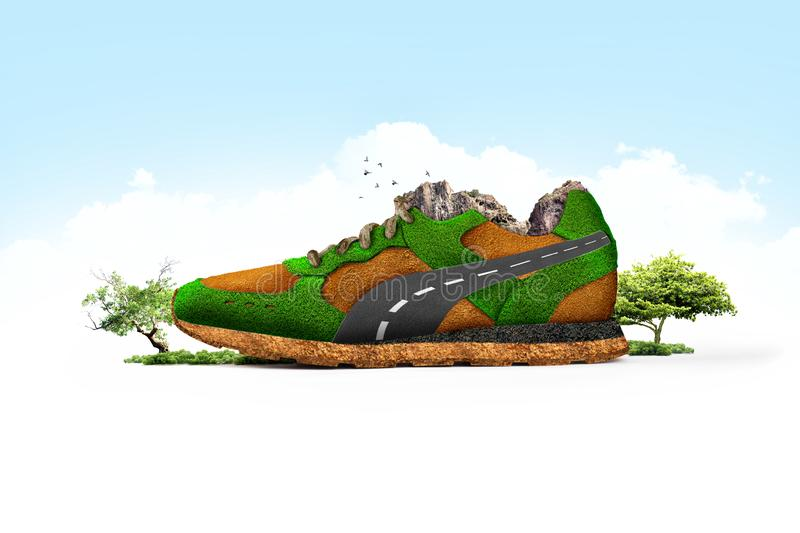 Running shoes running in nature. Shoe manipulation consisting of grass and soil. stock image