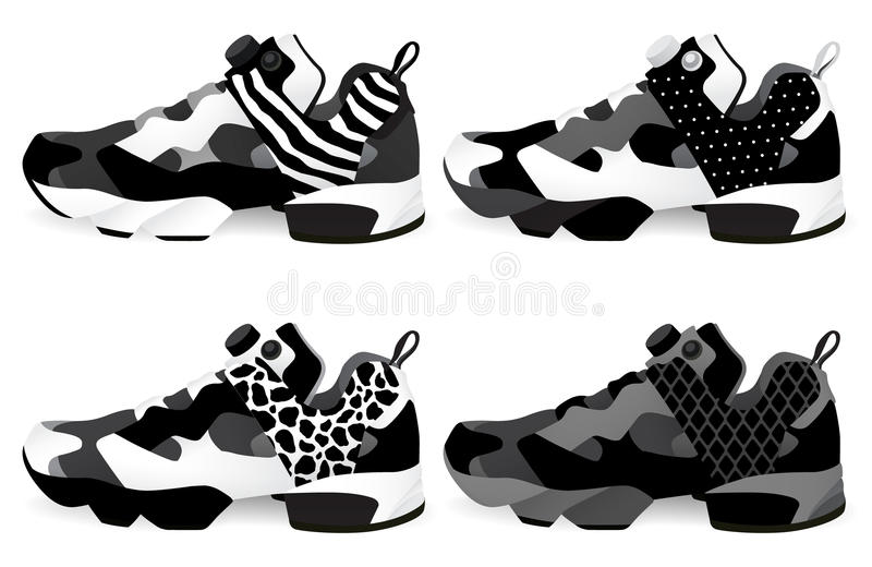 Running shoes - Sneakers. Set. Vector and illustration vector illustration