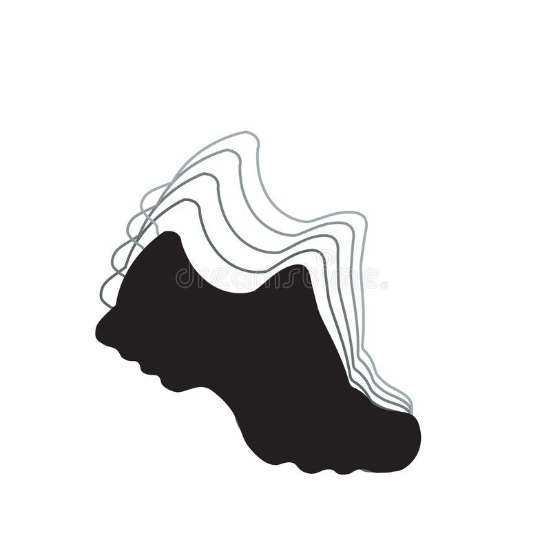 Running shoes. Vector black and white icon for marathon and fitness. Isolated illustration. royalty free stock photo