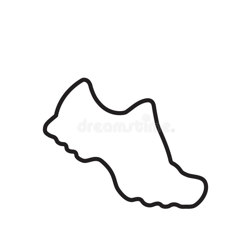 Running shoes. Vector black and white linear icon. Isolated illustration. stock photos
