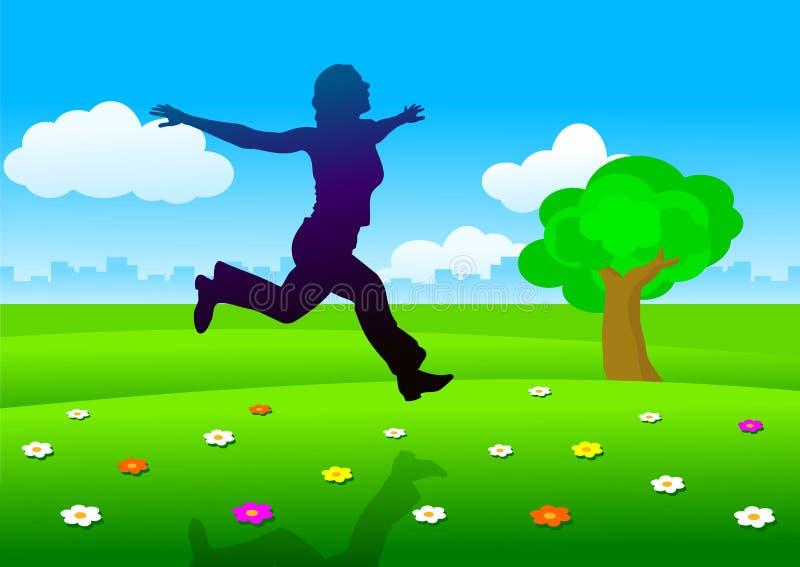 running silhouettekvinna för äng vektor illustrationer