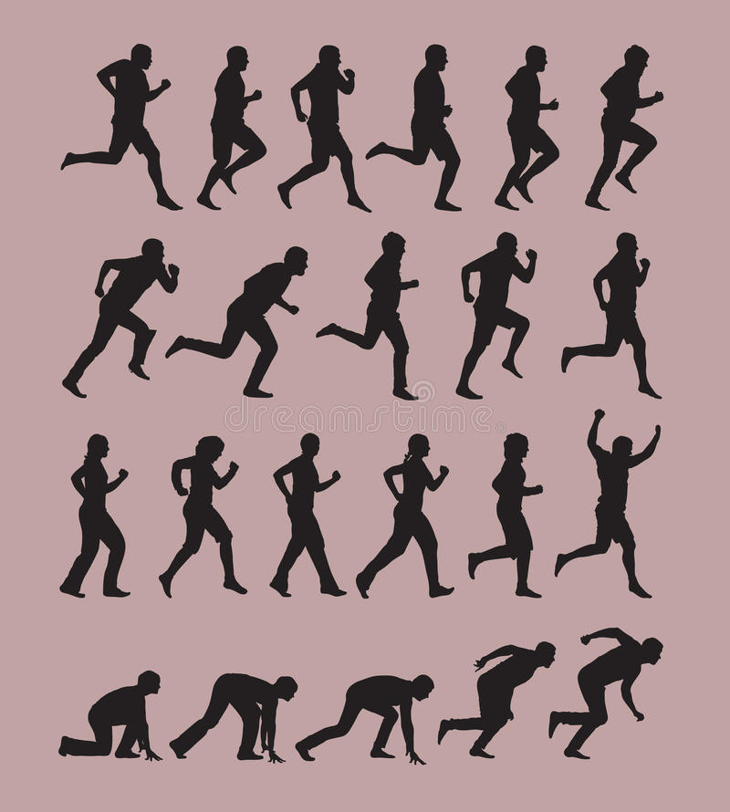 Running Silhouettes. Authors illustration in vector stock illustration