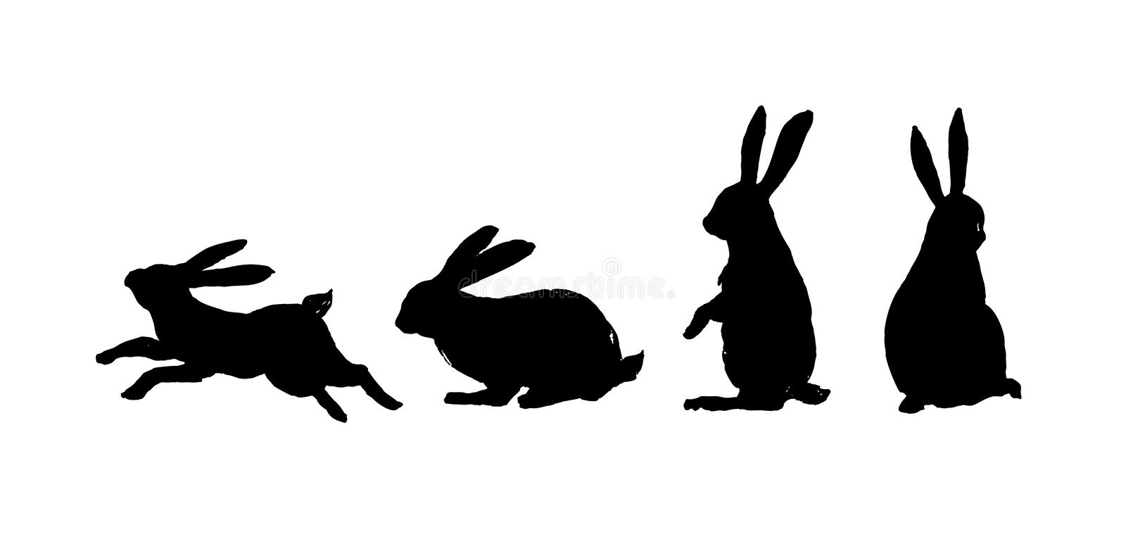 Running, sitting and standing rabbit. Black cut silhouette on a royalty free illustration
