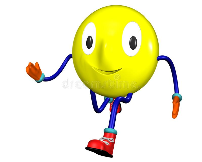 Running smile emoticon stock image