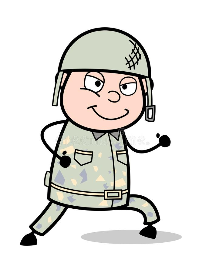 Running and Smiling - Cute Army Man Cartoon Soldier Vector Illustration. Cute Army Man Cartoon Soldier Vector Illustration and simple clip-art design royalty free illustration