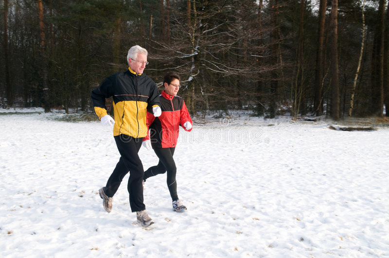 Running In The Snow 10 stock images