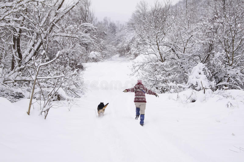 Download Running in the snow stock image. Image of running, landscape - 23859673
