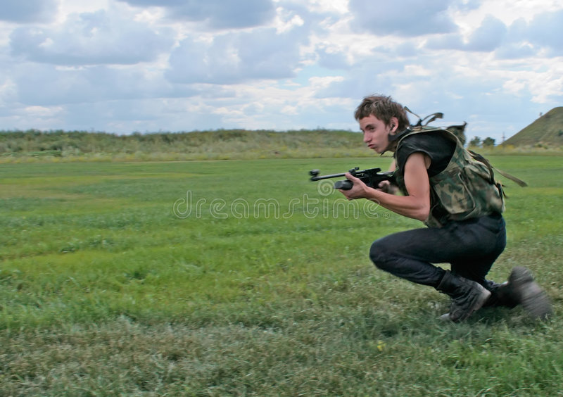 Running soldier stock photography
