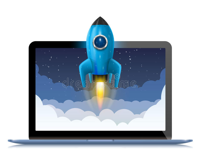 Running a space rocket from a computer, Splash creative idea, Rocket background, Vector illustration. Running a space rocket from a computer, Splash creative royalty free illustration