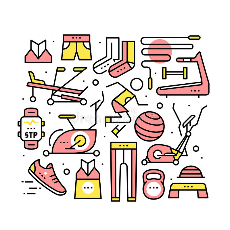 Running sport equipment. Clothes, shoes, objects. Trainers for runners and home fitness. Modern thin line art icons background. Linear style illustrations stock illustration
