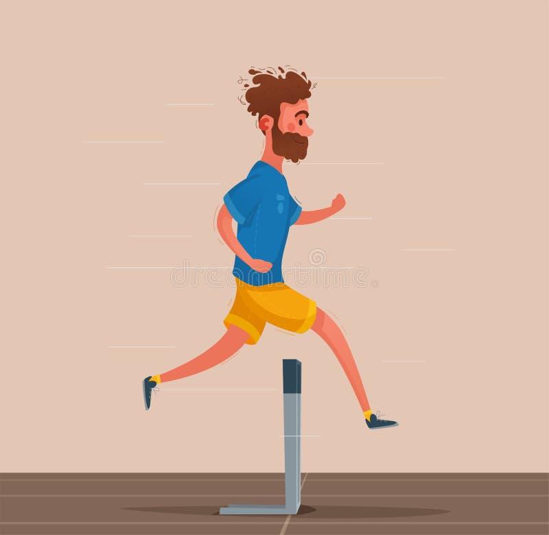 Running. Sporty character. Cartoon vector illustration. Running with obstacles. Sporty character. Cartoon vector illustration. Person is training. Funny man runs royalty free illustration