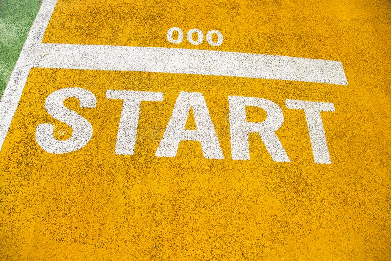 Running start signs painted on the road, good place for healthy royalty free stock photos