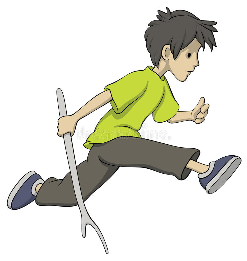 running stick för pojke stock illustrationer