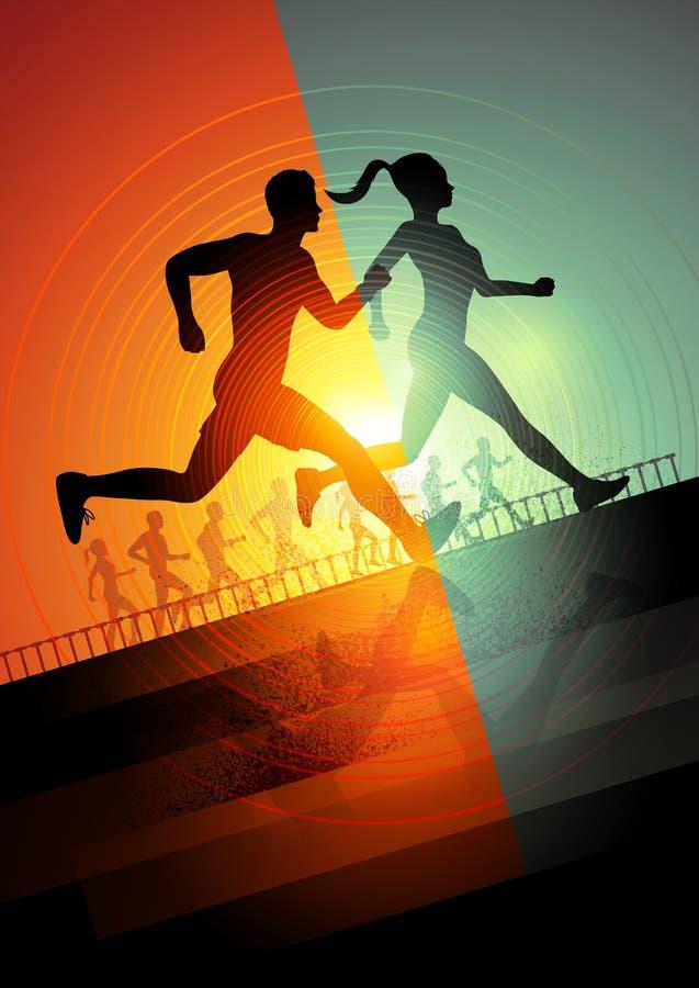 Running team vector illustration