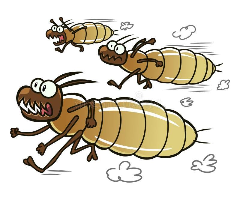 Running termites. Three cartoon termites running away royalty free illustration